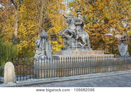Statue Of Polish King Jan Iii Sobieski In Warsaw