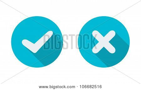 Yes and No check marks on circles. Vector illustration. Element for infographic design.