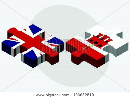 United Kingdom And Gibraltar Flags
