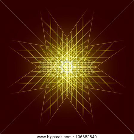 Energy power bright burst star space explosion pattern geometrical abstract light background gold.