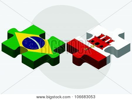 Brazil And Gibraltar Flags
