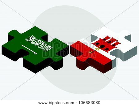 Saudi Arabia And Gibraltar Flags