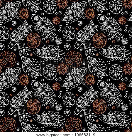 Decorative seamless background pattern with contour drawing of fishes and shells. Textile and wallpaper sea background