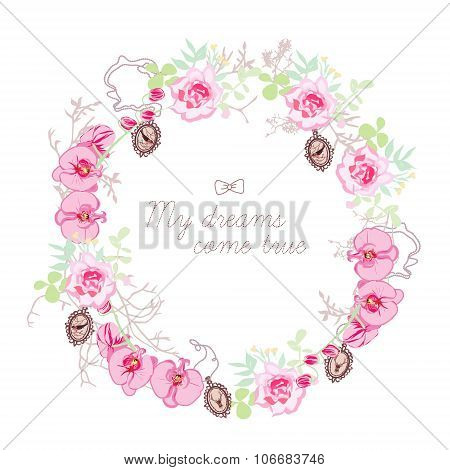 Floral Wreath And Small Medallions Vector Round Frame