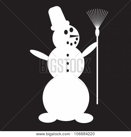 Stencil Snowman With Broom