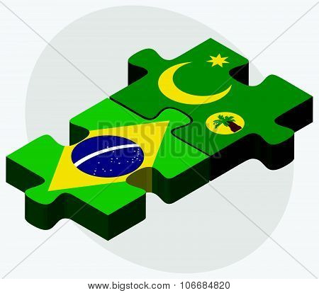 Brazil And Cocos (keeling) Islands Flags