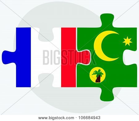France And Cocos (keeling) Islands Flags