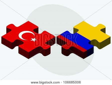 Turkey And Colombia Flags