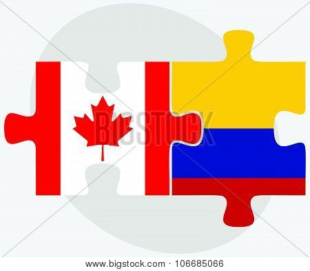 Canada And Colombia Flags