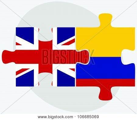 United Kingdom And Colombia Flags