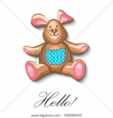 little bunny soft toy first birthday greeting card.