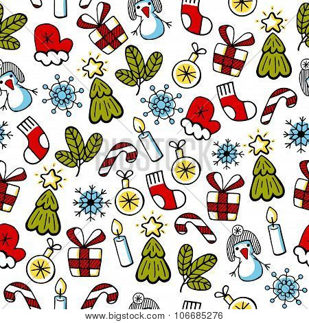 Christmas color sketch, vector seamless pattern. Christmas backg