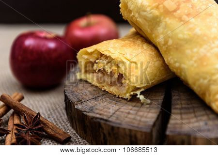Apple Strudel On Wooden End Of A Tree