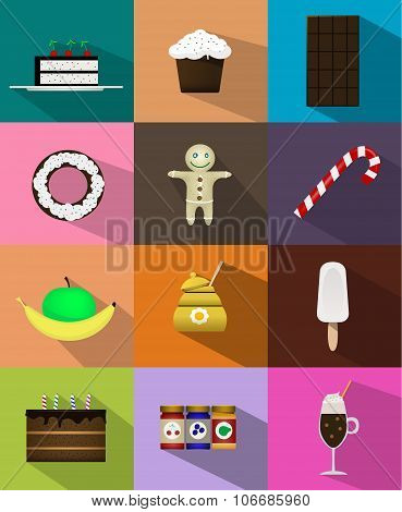 Set Of Sweet Food Icons Flat Style With Shadow..