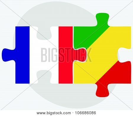 France And Congo Flags
