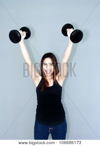 Thai Lady Hold Dumbell
