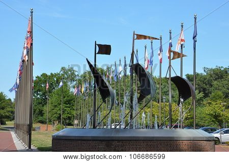 Fifty state flags in Jamestown, Virginia