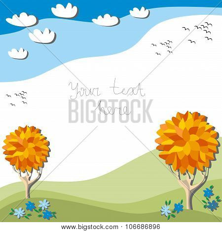 Beautiful Autumn Frame With Trees, Flowers, Clouds In The Sky And Birds Fly South