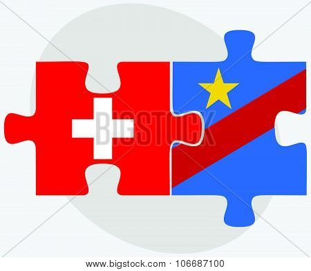 Switzerland And Democratic Republic Congo Flags