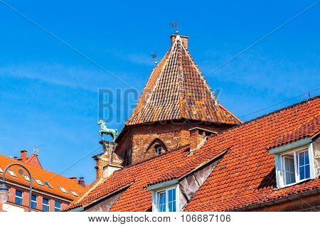 Gdansk. The roofs of old houses.