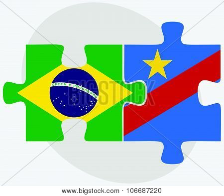 Brazil And Democratic Republic Congo Flags