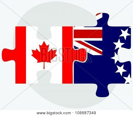 Canada And Cook Islands Flags