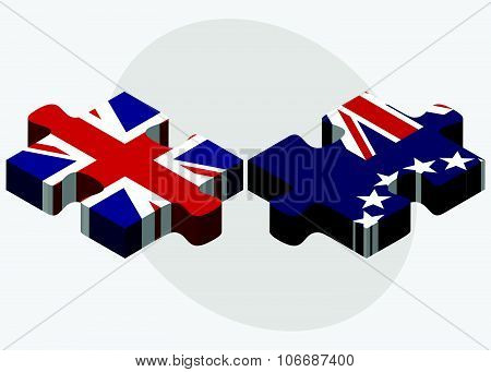 United Kingdom And Cook Islands Flags