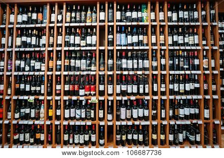 Wine bottles at the wine store
