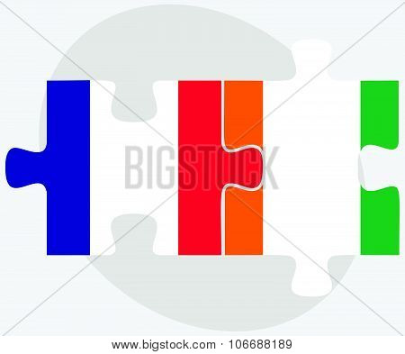 France And Cote Divoire Flags
