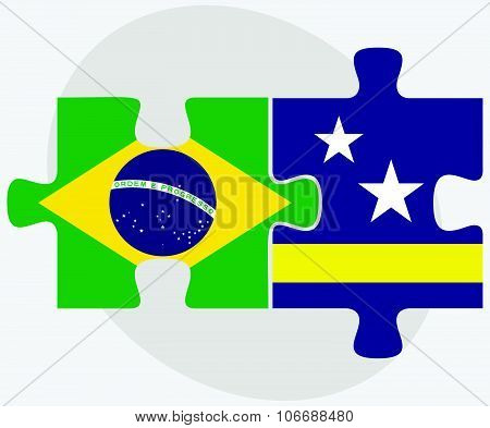 Brazil And Curacao Flags