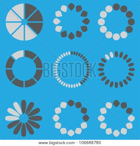 Preloaders symbols set. Loading and buffering icons. Vector template for web design.