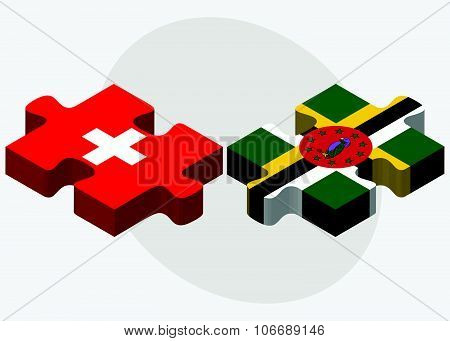 Switzerland And Dominica Flags