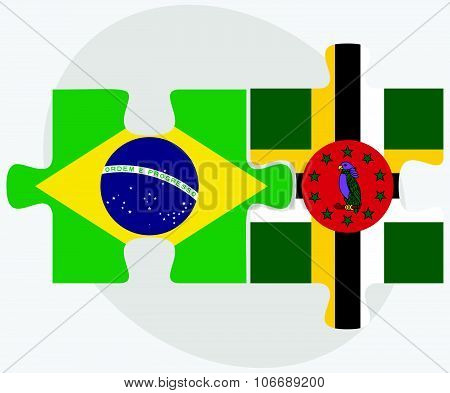 Brazil And Dominica Flags