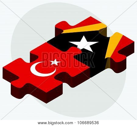 Turkey And East Timor Flags