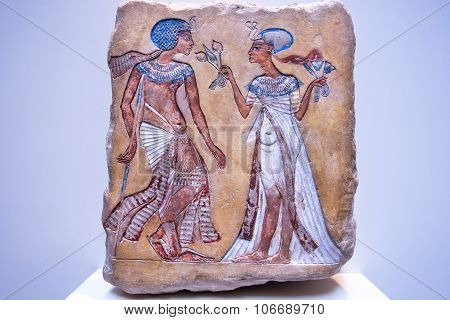 Pharaoh And His Wife From 14Th Century Bc On Stone Egyptian Relief