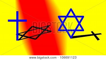 nterconnection between Christianity and Judaism concept. Big cross and big hexagram.