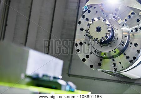 Milling machine tool with mill with carbide inserts at industrial manufacture factory