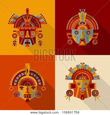 Set Of 4 Inca Masks.