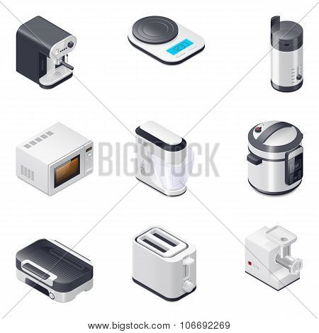 Household Appliances Detailed Isometric Icons Set, Part 2