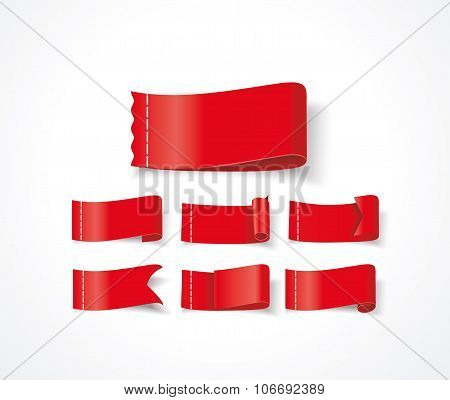 Hot Deal Red 3D Realistic Paper Sale Tags Isolated On White