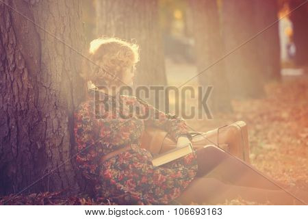 Girl With Book And Bag