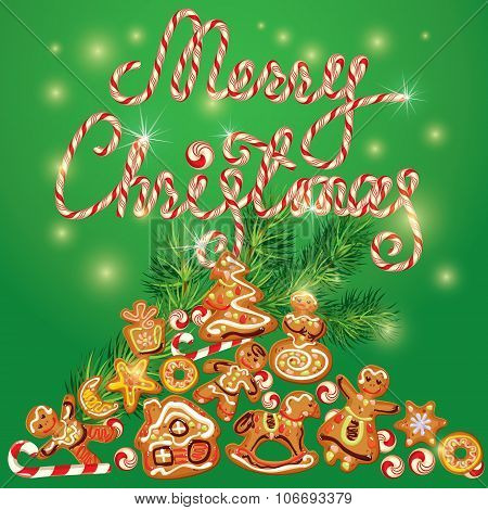 Greeting Card Of Xmas Gingerbread - Cookies In Angel, Star, Moon, Bell, House, Horse, Reindeer And F