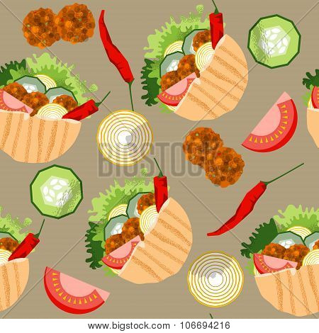 Falafel Stuffed Pita With Vegetables. Seamless Background Pattern.