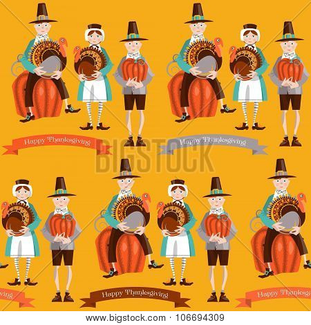 Boy And Girl Pilgrims With Turkey And Pumpkin Thanksgiving Card. Seamless Background Pattern.