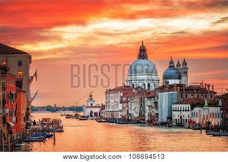 Canal Grande And Basilica Santa Maria Della Salute On Sunrise, Venice, Italy