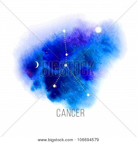 Astrology sign Cancer on watercolor background