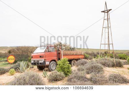 Display Of A Vehicle With Aloes And Quiver Trees