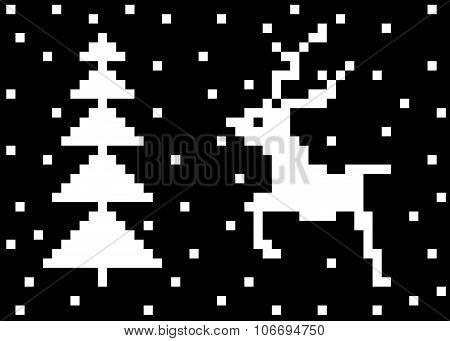 deer and fir-tree