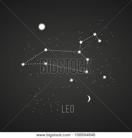 Astrology sign Leo on chalkboard background