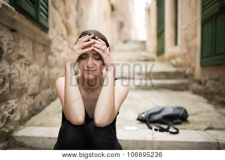 Woman with sad face crying.Sad expression,sad emotion,despair,sadness.